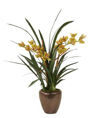 Silk Green Cymbidium Orchids with Blades in Bronze Modern Planter