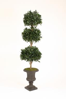 Sweet Bay Triple Ball Topiary in Large Rust Classic Fiberglass Urn