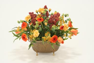 Fall-Toned Tulips, Roses, Ranunculas, Foliage in Antique Brass Pineapple Embossed Planter