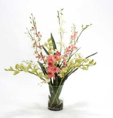 Waterlook ® Mixed Orchids in Clear Glass Cylinder Vase