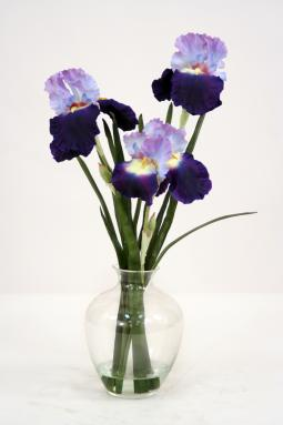 Waterlook ® Silk Purple-Blue Bearded Iris with Blades in a Victorian Glass Vase