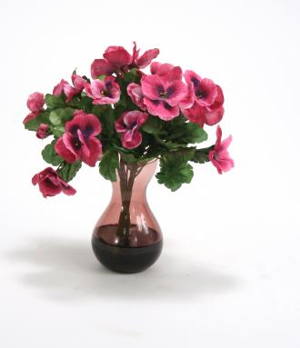 Waterlook ® Pink Pansy Bush in Violet Bulb Forcer Vase (2 pc set)