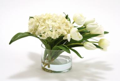 Waterlook ® Silk White Hydrangeas with White Stage Tulips in a Glass Cylinder