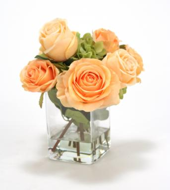 Waterlook ® Silk Roses and Hydrangeas in a Clear Glass Square