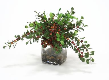 Waterlook ® Faux Burgundy Berries with Silk Foliage in a Glass SquareWaterlook ® Faux Burgundy Berries with Silk Foliage in a Glass Square