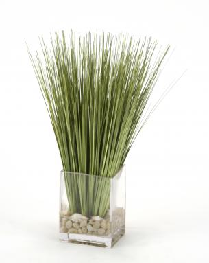 Waterlook (R) Basil Grass And Pebbles In Rectangle Glass Vase