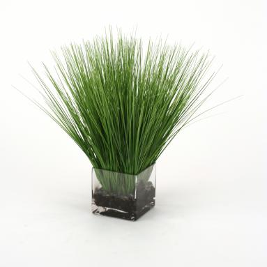 Waterlook ® Faux Green Grass in a Square Glass Vase