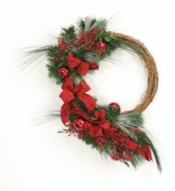 Down Home - Snow Dusted Pine, Deep Red Berries, Ornaments and Ribbon Wreath