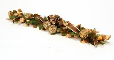 Over The Top - 58' Bronze & Sequined Gold Laurel Leaf & Cedar Garland with Nutmeg and Gold Trimmed Ribbon