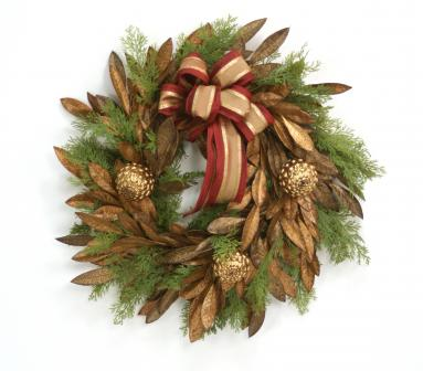 Wreath - 24' Bay Leaf Wreath with Cedar and Antique Gold Pine Cones with Ribbon