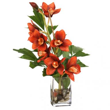 Waterlook ® Silk Rust Orchid with Fishtail Palm in a Small Vase