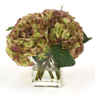 Waterlook ® Silk Amethyst Hydrangea Nosegay in a Rectangular Glass Vase