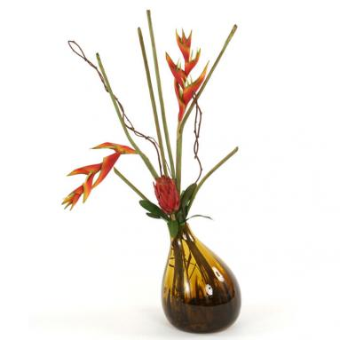 Waterlook ® Silk Heliconias in an Amber Gourd Vase