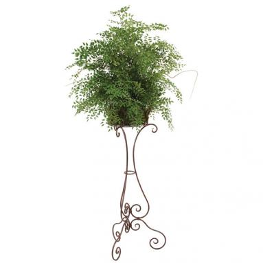 74' Silk Smilax in Rust Bulb Pot with 40' Victorian Rust Black Plant Stand