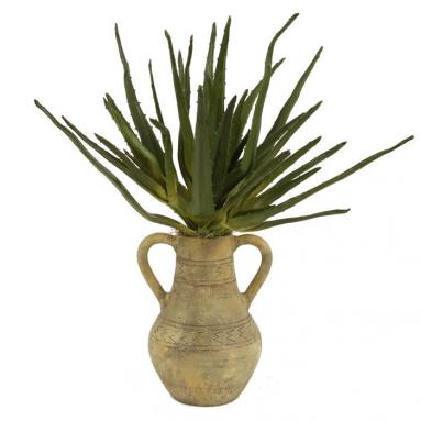 Silk Greenery - Agave Plant in a Navajo Water Jar with Handles