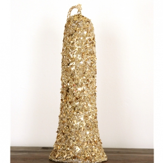17' Gold Glittered Bell with Thick Rope Cord