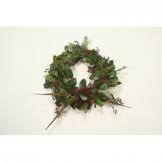 30' Magnolia Foliage Wreath with Berries and Feathers