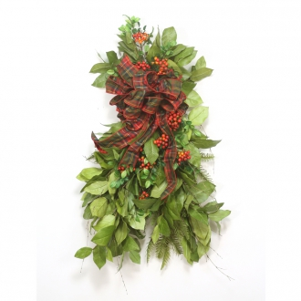 36'L Artificial Salal Leaf and Red Berry Swag with Red and Green Ribbon (Pack of 2)