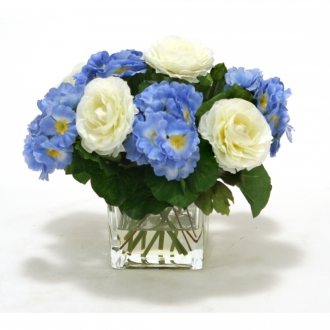 Blue primrose with ranuclas In Rectangle Glass