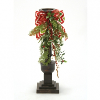Candlesticks with Cedar, Holly, Glitter Branches and Chevron Ribbon