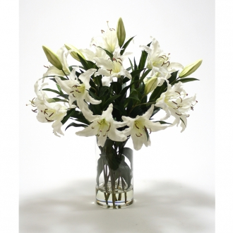 Casablanca Lilies in Glass Vase