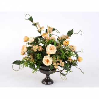 Champagne Mix of Silk Roses, Tulips and Dogwood with Foliage in a Compote Urn