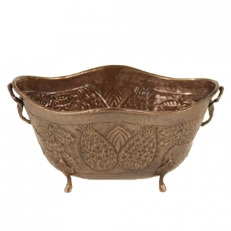 Container - Large Oval Antique Brass Finish Metal Planter with Pineapple Motif