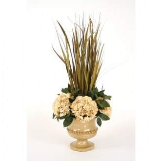Dried Grasses Wreathed with Silk Hydrangeas in an Almond Classic Urn