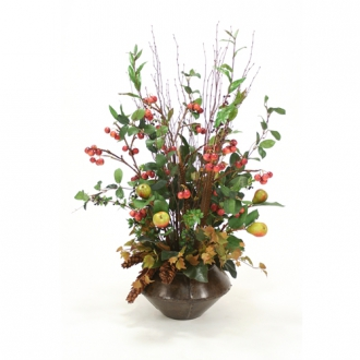 Faux Crabapple Sprays, Feathers, Pine Cones and Greenery in a Riveted Metal Planter