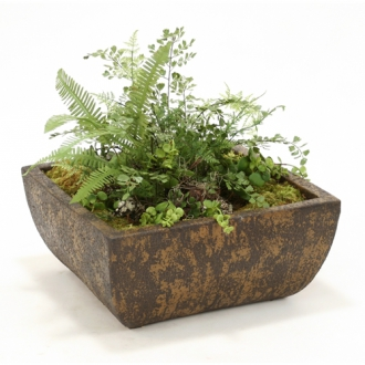 Faux Ferns and Succulents in Deep Chocolate Crackle Square Stone Tray