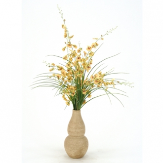 Gold Silk Oncidium Orchids, Grass in  Aged Almond Rio Vase
