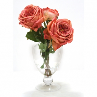 MAUVE ROSES IN CLEAR GLASS URNWITH BALL STEM