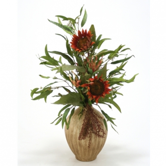 Mixed Silk Floral Arrangement and Eucalyptus in Aged Almond Porcelain Vase