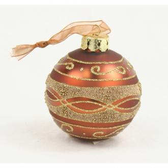 Ornament - 3' Gold Beaded Burnt Sienna Glass Ball (Pack of 6; 24/cs)
