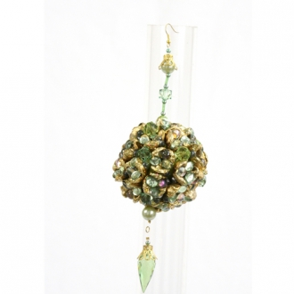 Ornament - 3' Green Ice Beaded Ball (Pack of 6; 216/cs)