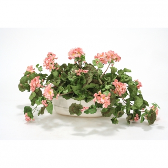 PINK GERANIUMS IN SMALL WHITE LION HEAD PLANTER