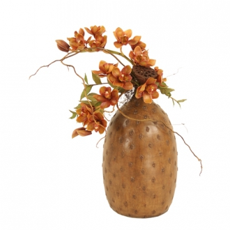 Silk Brown Cymbidium Orchids with Pods in a Large Cork Vase