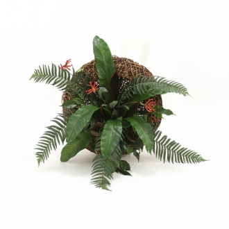 Burgundy Bromeliad with Mixed Greenery in Dark Brown Round Crazy Weave Wall Basket