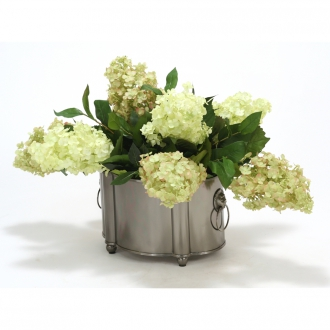 Silk Green and Green-Rose Hydrangeas in a Blackened Pewter Finish Planter