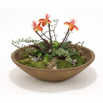 Silk Lady Slippers with Mixed Greenery in Tuscan Brown Round Bowl