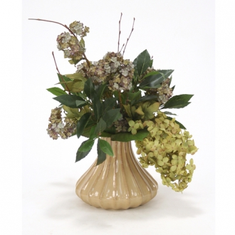 Silk Light Brown Green Peegee Hydrangeas and Snowball Branches in Milu Tan Small Fluted Vase
