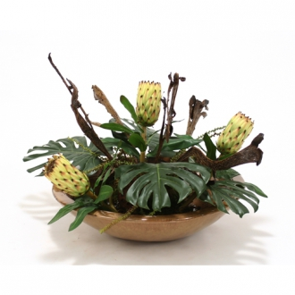Silk Tropical Foliage with Proteas, Natrag and Pods in Mocha Glazed Bowl