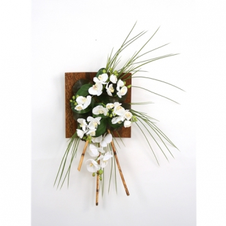 Wall Hanging with Silk Orchids, Bamboo and Grass in a Wood Sushi Tray (LEFT Facing)