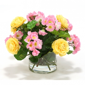 Waterlook ® Pink Primrose and Yellow Ranunculus in Cylinder Glass