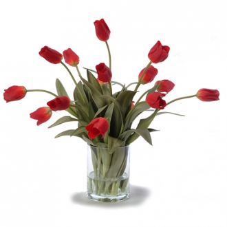 Waterlook ® Silk Red Tulips in a Glass Cylinder Vase
