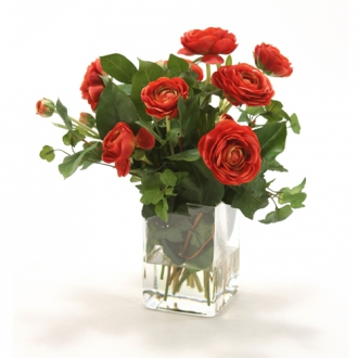 Waterlook ® Silk Rust-Red Ranunuculus with Greenery in a Tall Glass Square