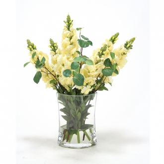 Waterlook ® Yellow Snapdragon Silk Floral Arrangement in Clear Eliptical Glass Vase