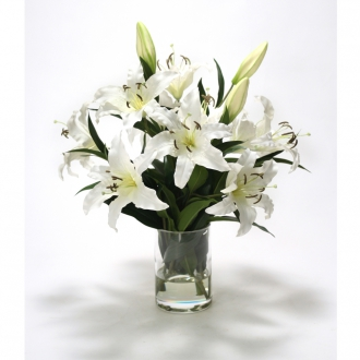 White Casablanca Lilies in a Round Glass Cylinder