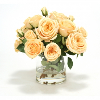 YELLOW ROSES IN ROUND GLASS CYLINDER