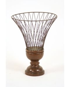 WIRE URN W/WOOD BASEBEIDERMEIER FINISH (sold in multiples of 2)